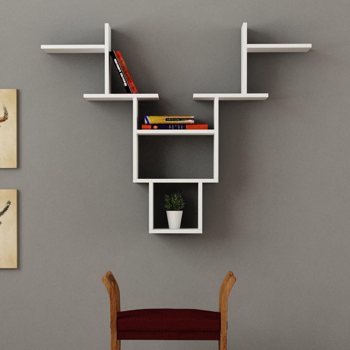 Buck libreria mensola da parete in legno per soggiorno 85 for Mensole libreria