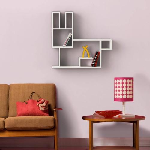 Bunny libreria moderna a muro in legno per soggiorno camera
