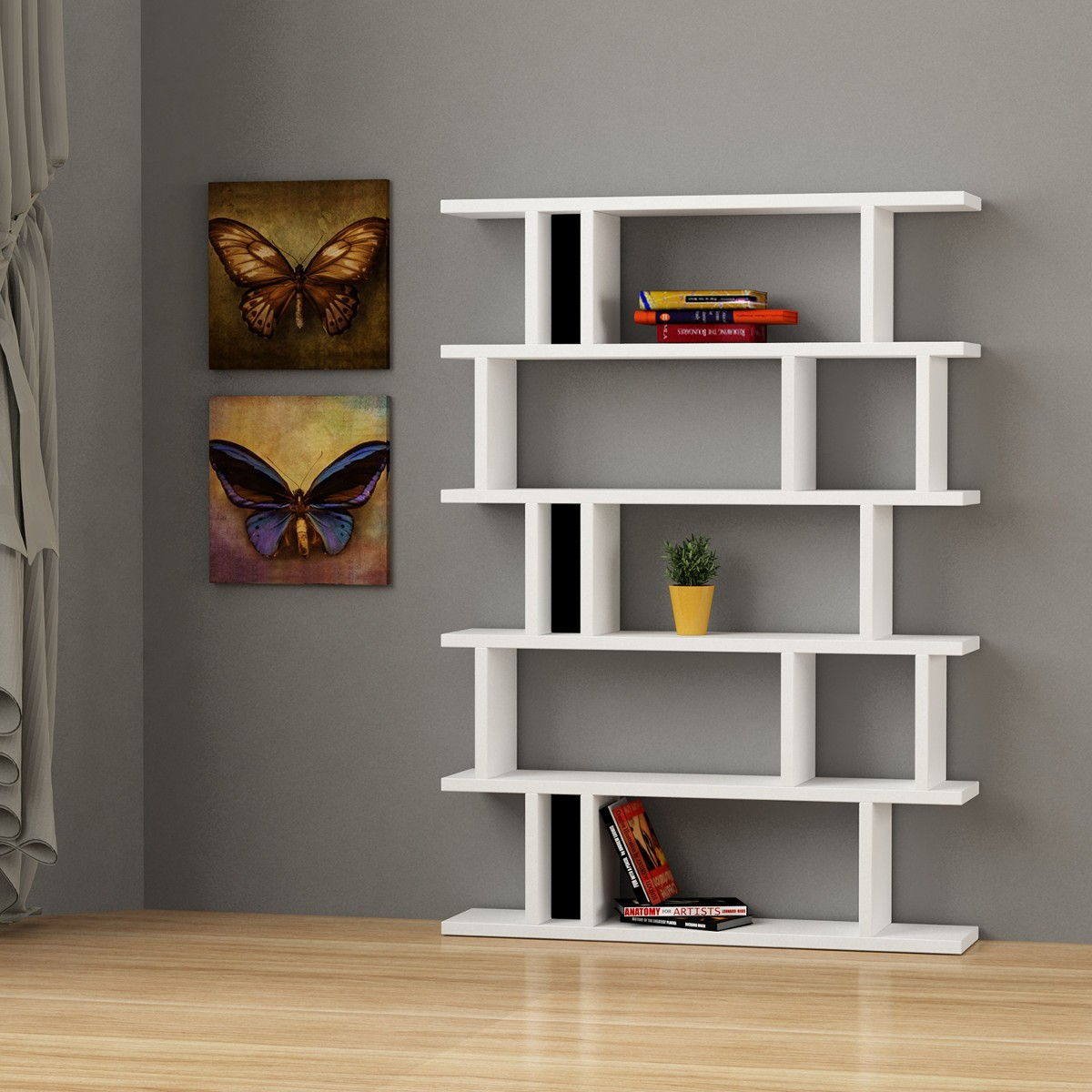 Kendal libreria design soggiorno bianca in legno e plexiglass for Librerie in legno componibili