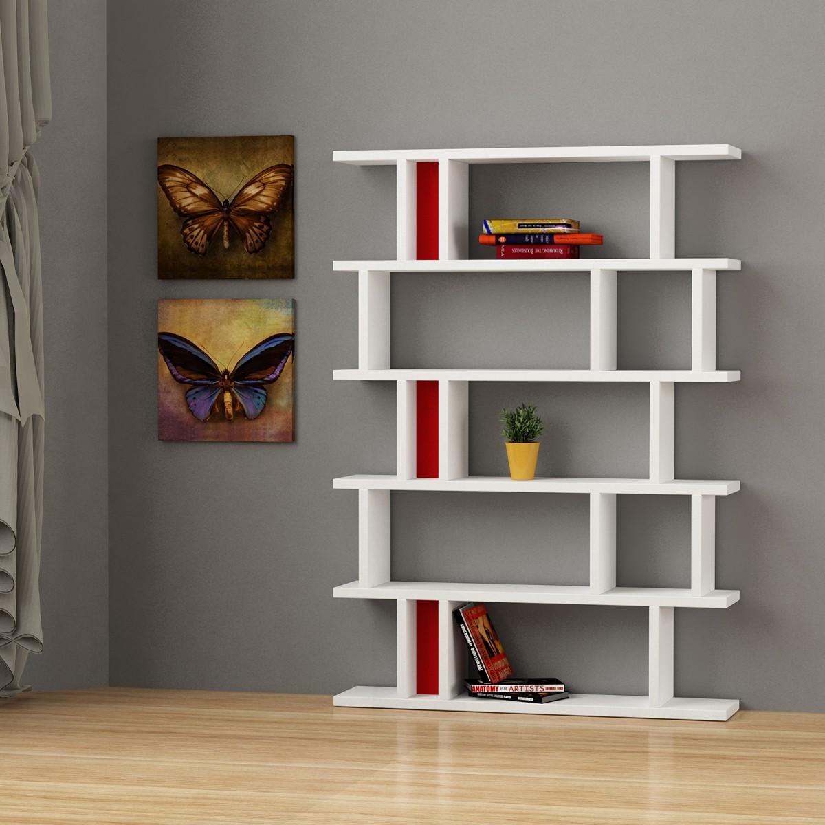 kendal libreria design soggiorno bianca in legno e plexiglass