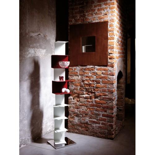 Libreria MotusMentis Ghost st22 con mensole in acciaio Bianca 30 x 177 cm