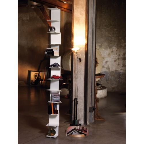 Libreria MotusMentis Ghost st33 a colonna in acciaio bianco 20 x 270 cm