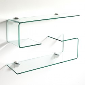 Coppia mensole in vetro curvato lunghezza 75 cm Pickup