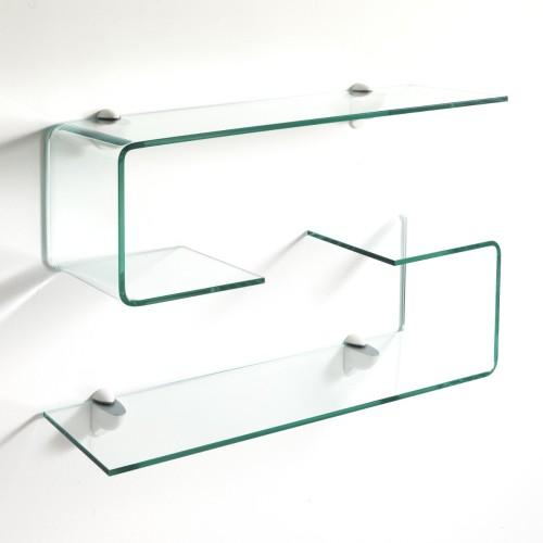 Pickup coppia mensole in vetro curvato spessore 10 mm lunghezza 75 cm