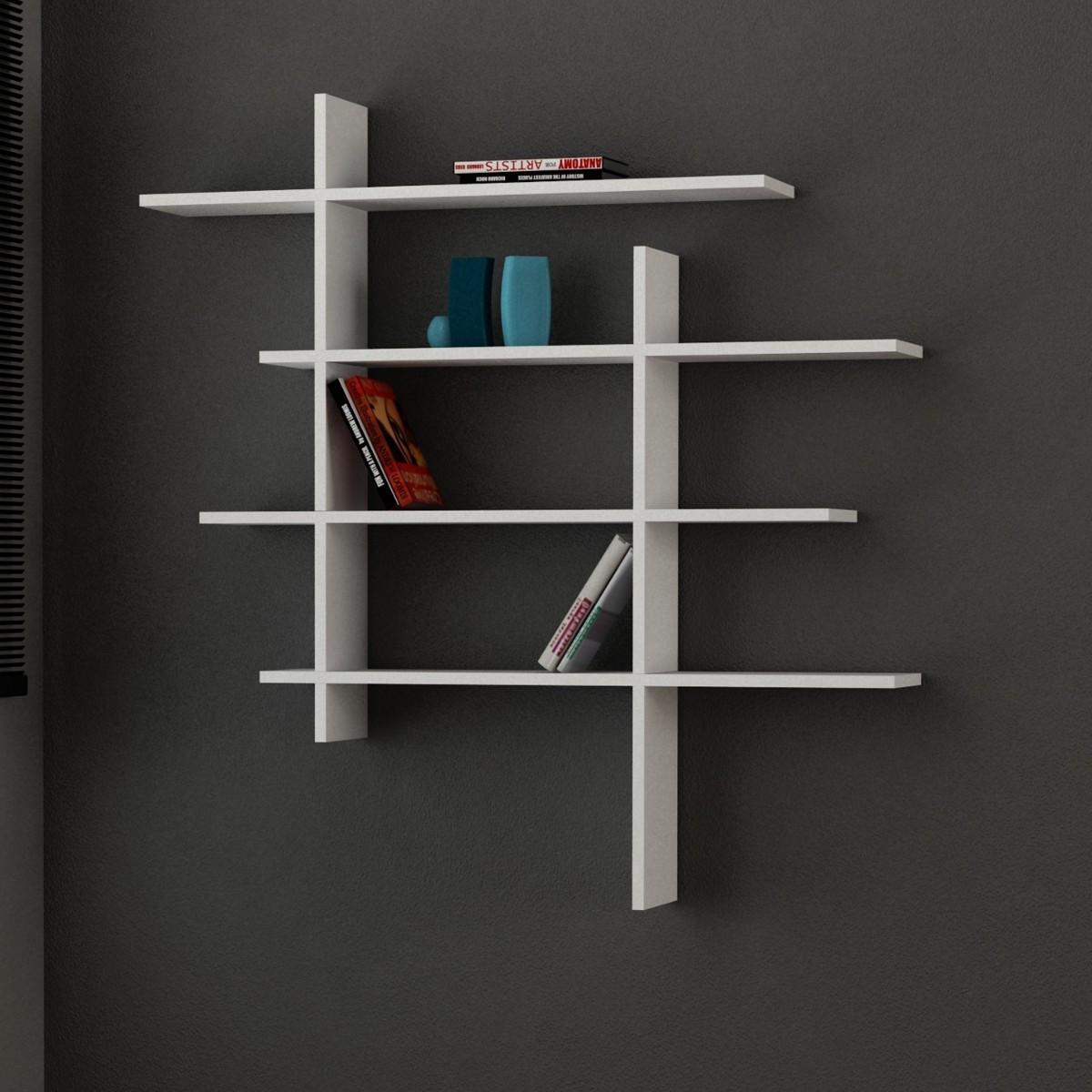 Standup mensola libreria moderna a muro in legno 115 x 115 cm for Mensole economiche