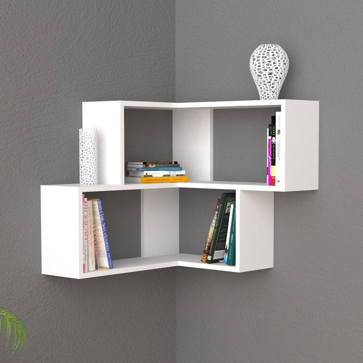 Angular mensola da parete angolare moderna in legno 60x70cm for Librerie angolari moderne