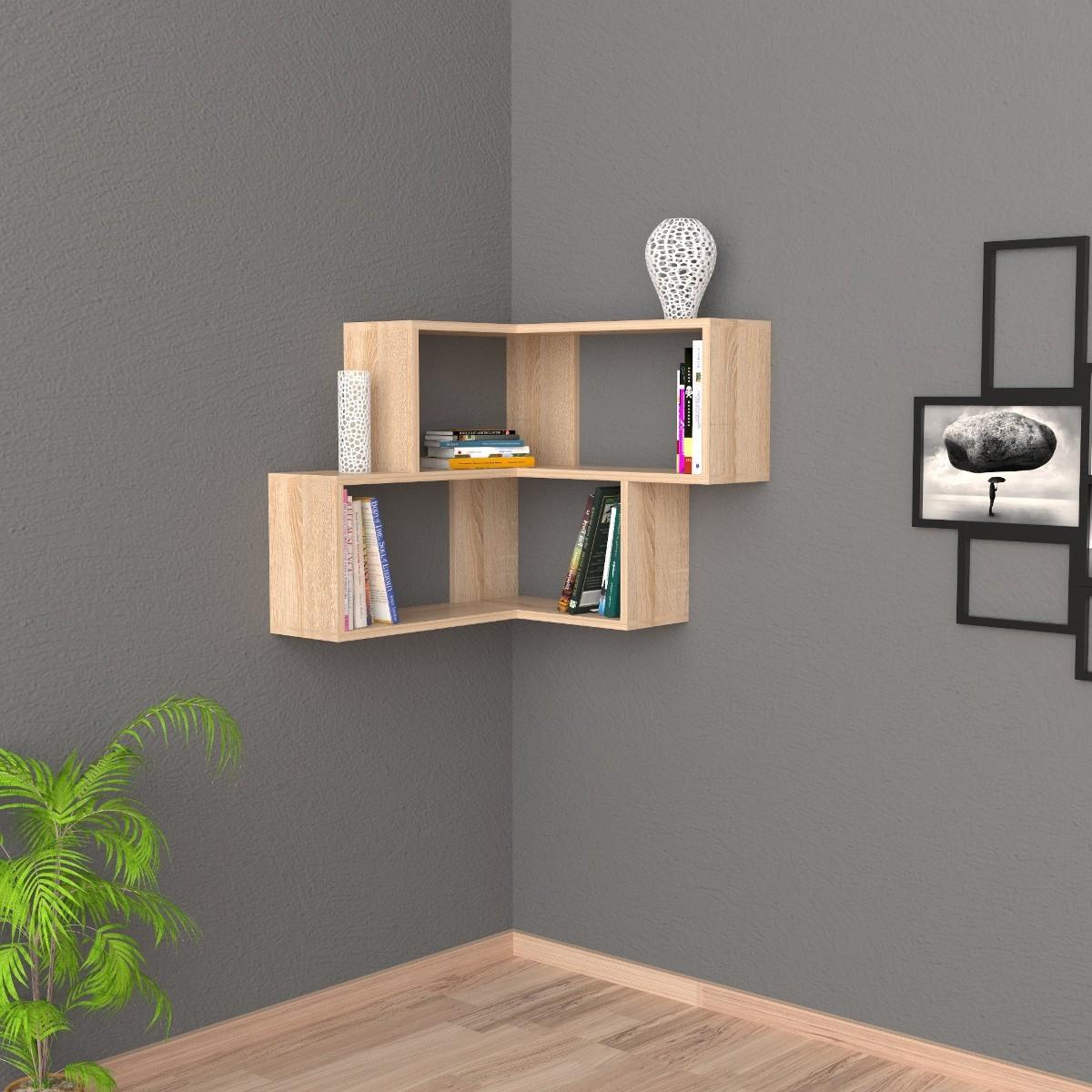 Angular mensola da parete angolare moderna in legno 60x70cm - Parete con mensole ...