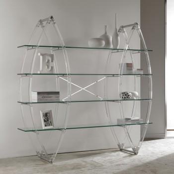Eternal libreria da terra in metacrilato e cristallo trasparente 185x185cm