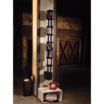 Porta CD girevole Tower B in acciaio verniciato o ruggine 10 x 141 cm