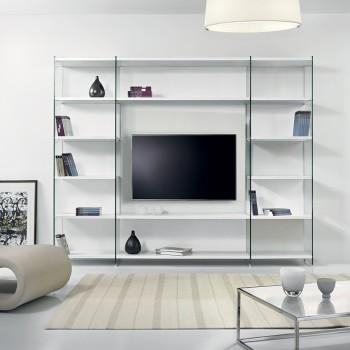 Byblos libreria porta TV per soggiorno in legno e vetro 250 x 200 cm