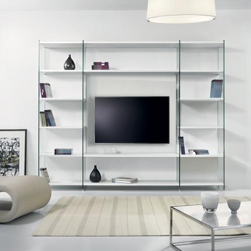 Libreria porta TV per soggiorno in legno e vetro 250 x 200 cm Byblos