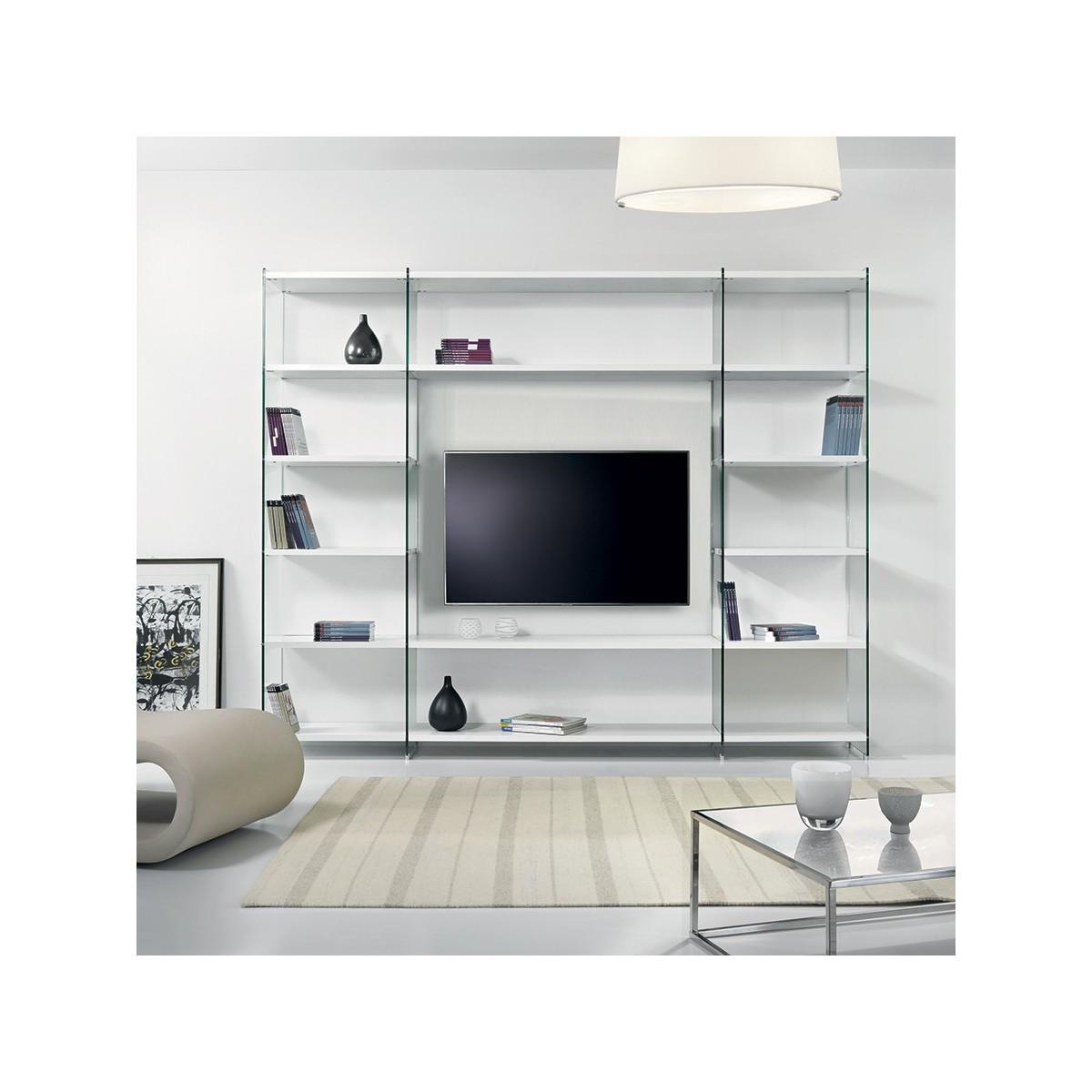 Byblos libreria porta tv per soggiorno in legno e vetro for Libreria acciaio e vetro