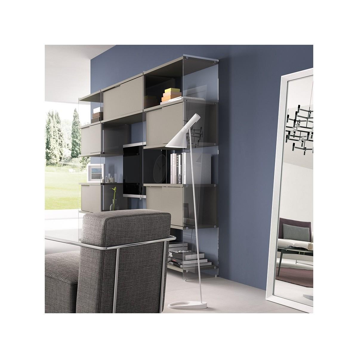Byblos7 libreria da parete attrezzata porta tv 308 x 200 cm for Parete tv attrezzata