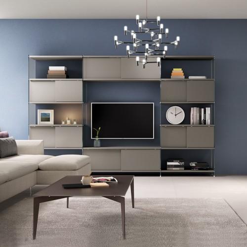 libreria da parete attrezzata porta TV 308 x 200 cm