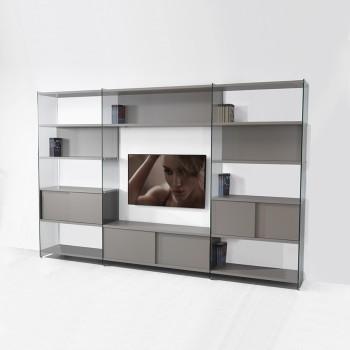 Parete attrezzata porta TV in laminato e vetro 310x200 cm Byblos8