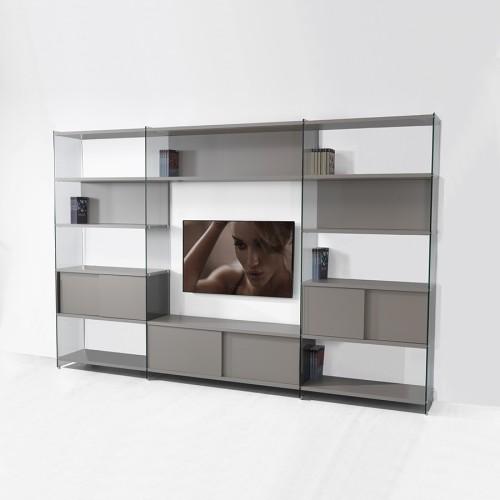 Parete attrezzata porta tv in laminato e vetro 310x200 cm for Immagini parete attrezzata
