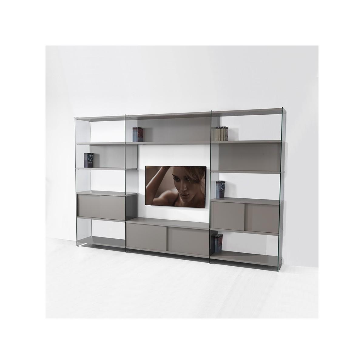 Byblos8 parete attrezzata porta tv in laminato e vetro - Porta dvd da parete ...