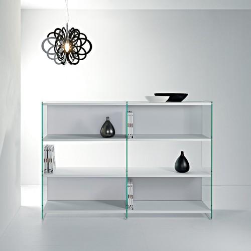 Libreria a giorno design in vetro e legno 180 x 125 cm Byblos11