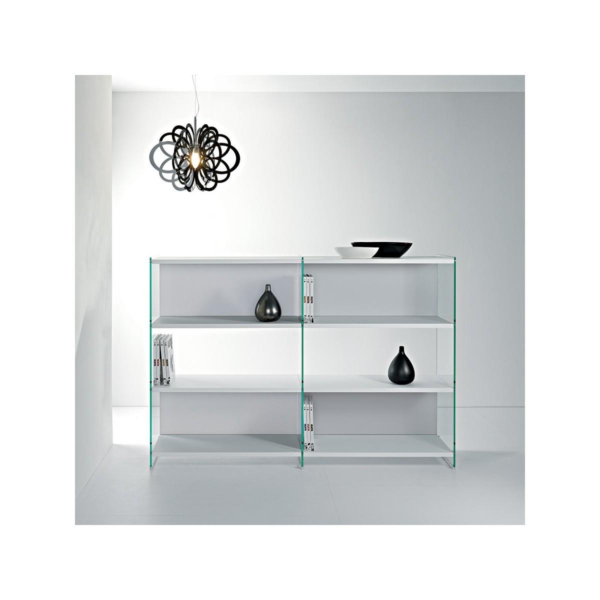 Byblos11 libreria a giorno design in vetro e legno 180 x for Libreria acciaio e vetro
