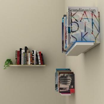 Set di 3 mensole muro a scomparsa porta libri Mimetic