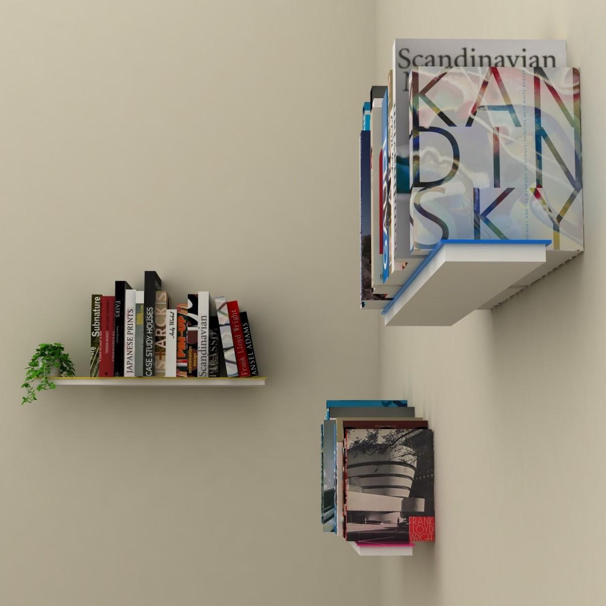 mimetic set di 3 mensole muro a scomparsa porta libri