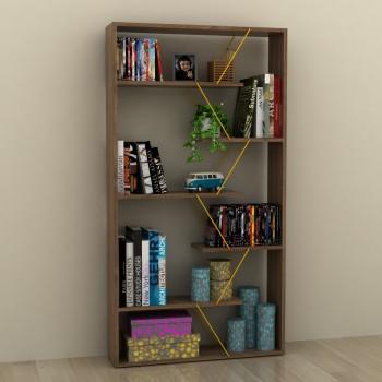 Libreria divisoria autoportante in legno e metallo Wilmark