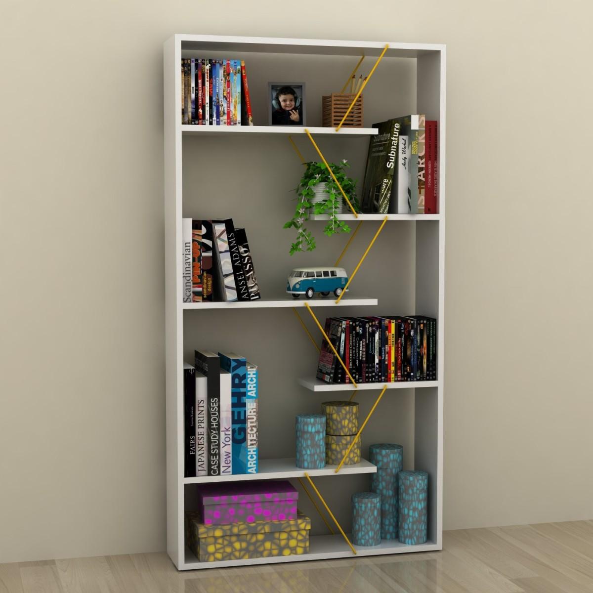 Libreria divisoria autoportante in legno e metallo wilmark - Libreria divisoria con porta ...