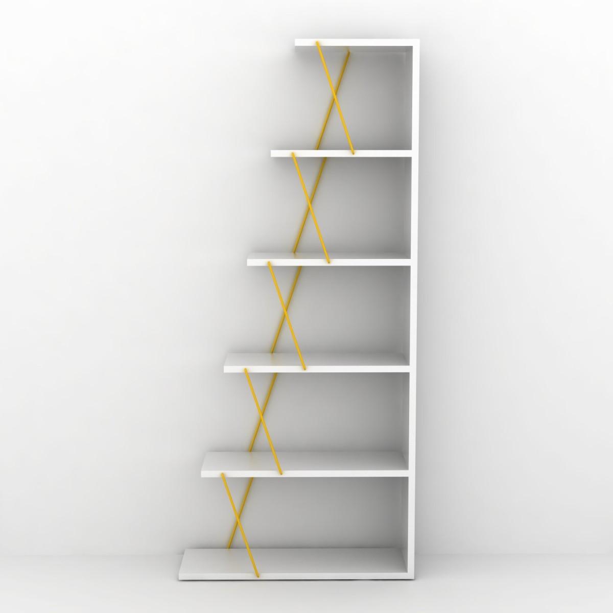 Gradient libreria autoportante per soggiorno in legno e for Scaffale scala ikea