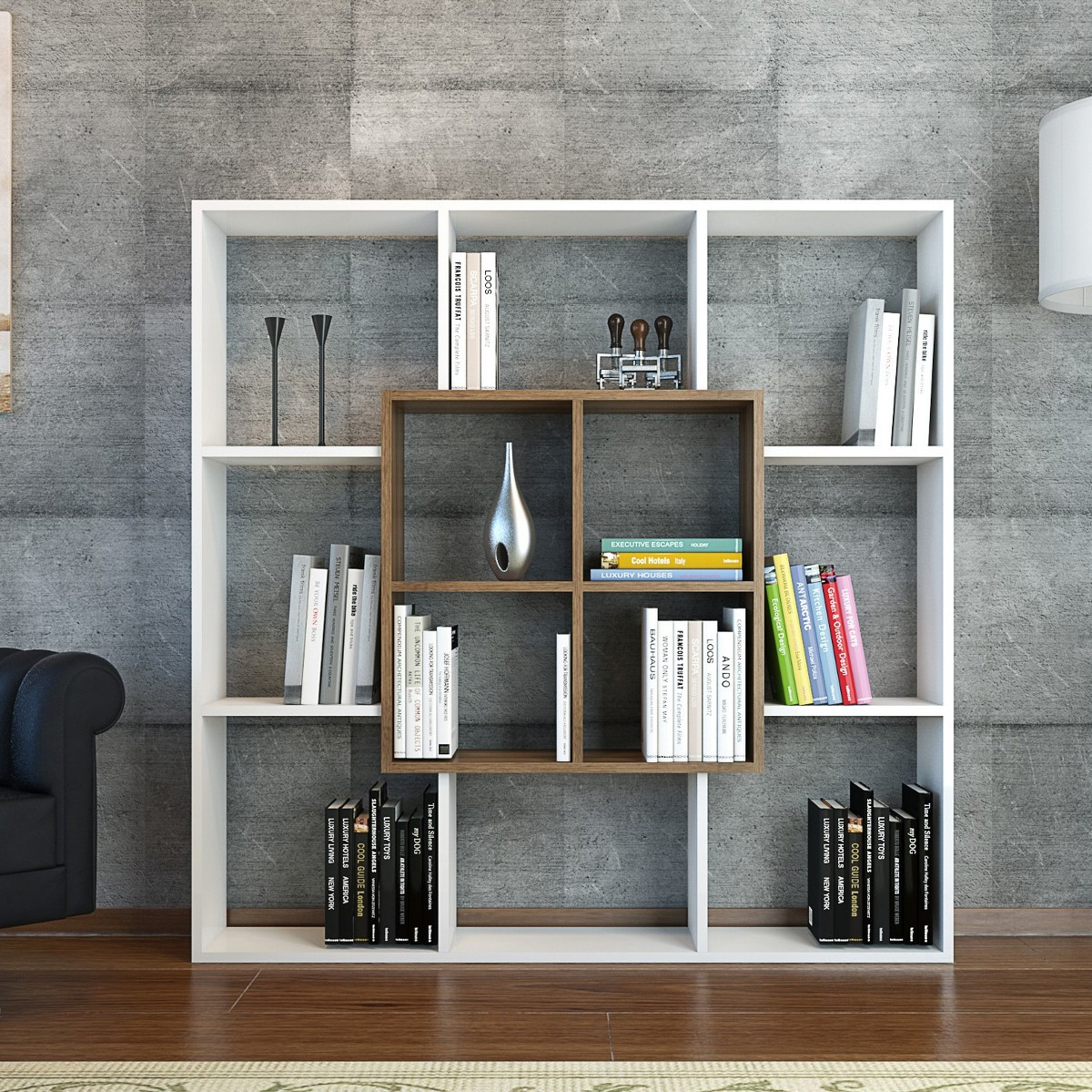 Laerke libreria da terra quadrata in legno 136 x 136 cm