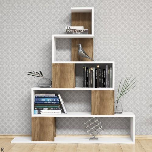 Pyram libreria moderna a forma di piramide Bianco Noce