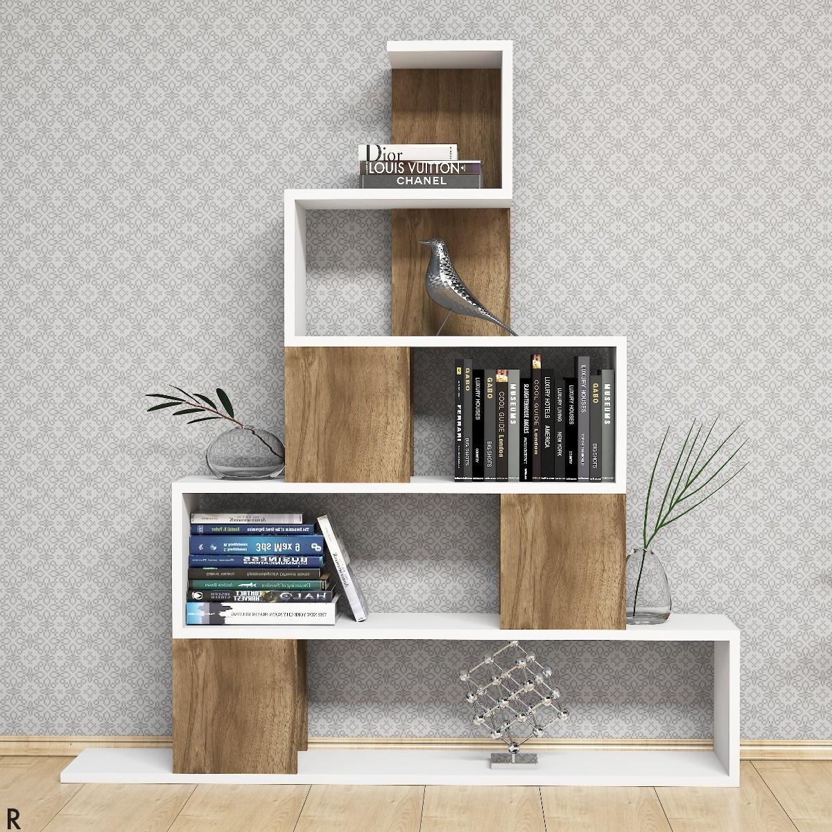 Pyram libreria moderna a forma di piramide bianco noce for Libreria salotto