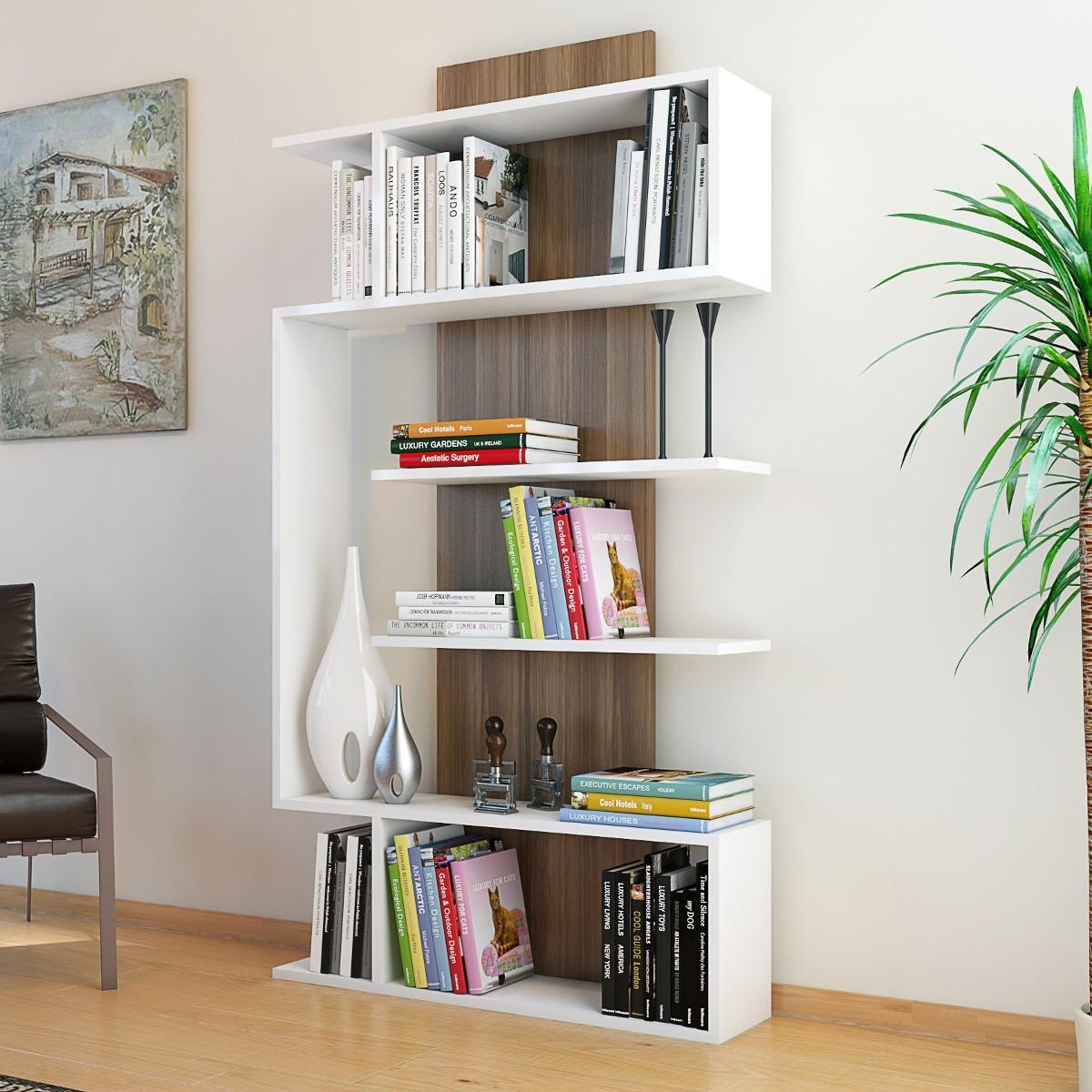 Beryl libreria da soggiorno moderna bianco noce 90 x 170 cm for Acquisto libreria