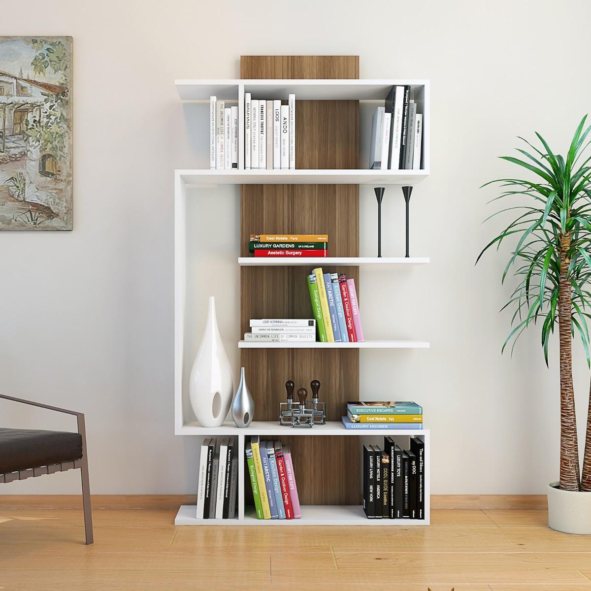 Libreria Da Soggiorno : Beryl libreria da soggiorno moderna bianco noce cm
