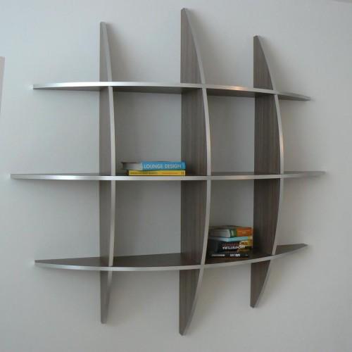 Libreria rotonda da parete in legno wenghè chiaro Guidus WG