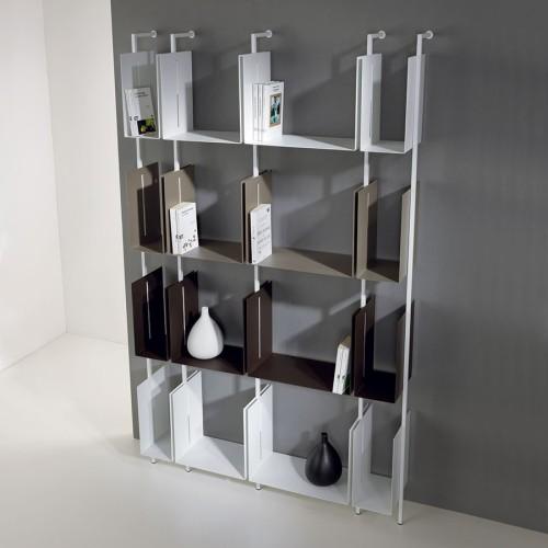 Libreria scaffale da parete design moderno in acciaio Libra comp-24