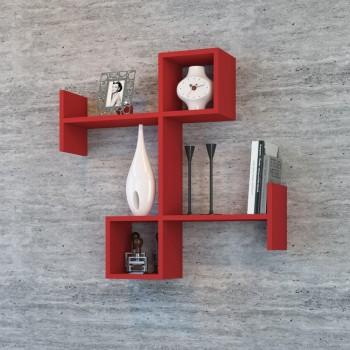 Mensola Patrik da parete design in legno rosso 85 x 83 cm
