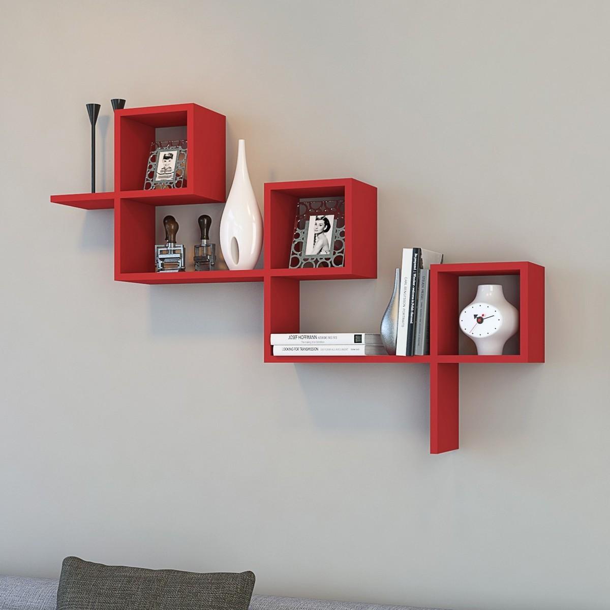 Mensola larry a muro moderna in legno bianco o rosso for Mensole legno bianco