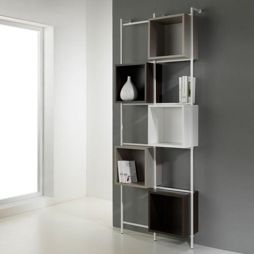 Libreria Libra comp-36 a muro verticale in acciaio design moderno