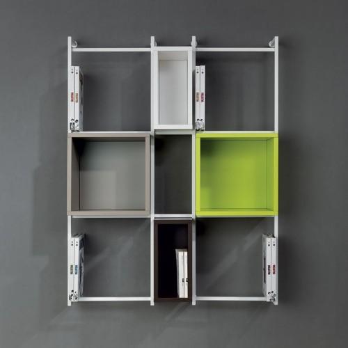 Libreria libra comp 38 sospesa a muro verticale moderna in for Libreria sospesa a muro