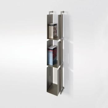 Libreria Libra 119-16-3 verticale in acciaio sospesa design moderno