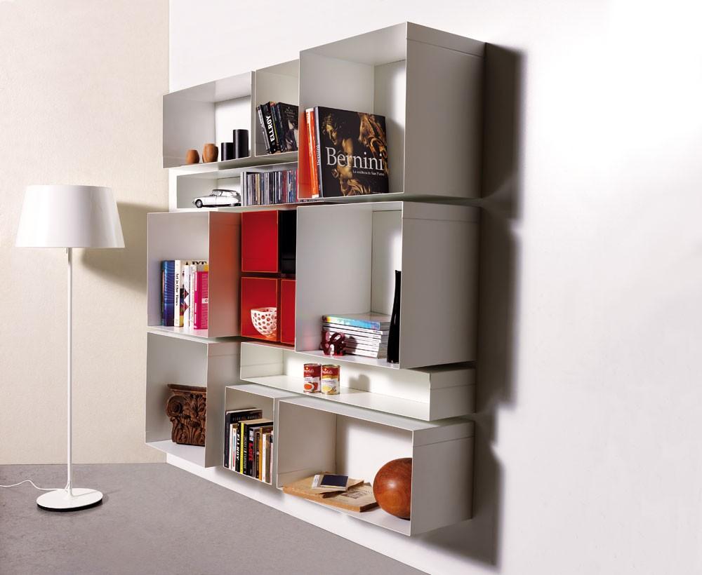 Mensola cubo componibile da parete in acciaio skatola - Mensole da parete design ...