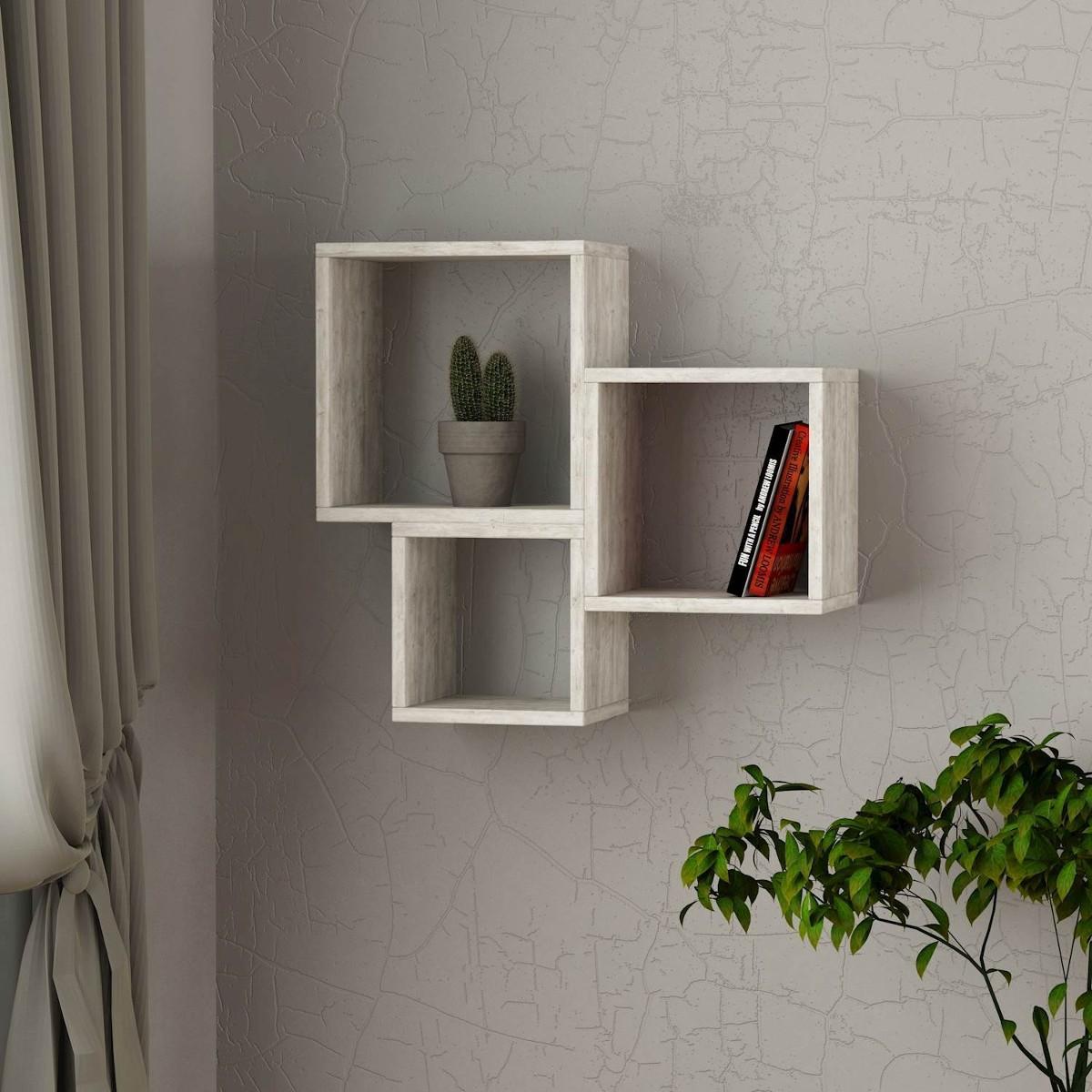 Isolda mensola libreria cubo a parete muro in melaminico for Arredamento mensole a parete