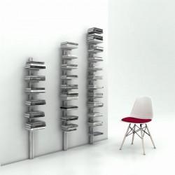 Ambrogio libreria da parete con montante in alluminio e ripiani in lamiera d'acciaio verniciati
