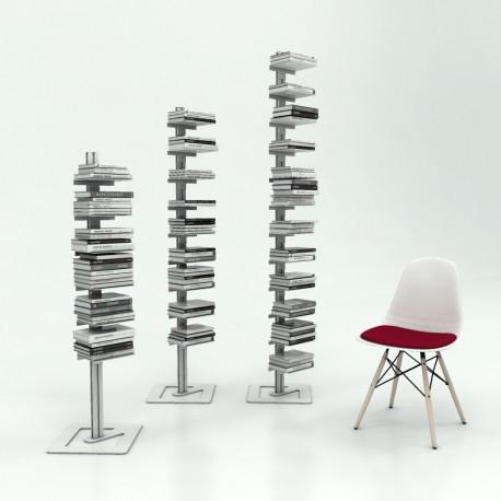 Libreria autoportante a colonna in alluminio e acciaio Ambrogio