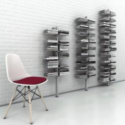 Dotto libreria da parete a colonna in alluminio e acciaio