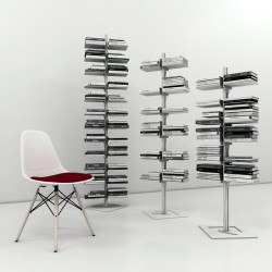 Dotto libreria autoportante a colonna in alluminio e acciaio