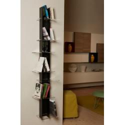 Libreria da parete verticale in metallo nero e bianco Elib7