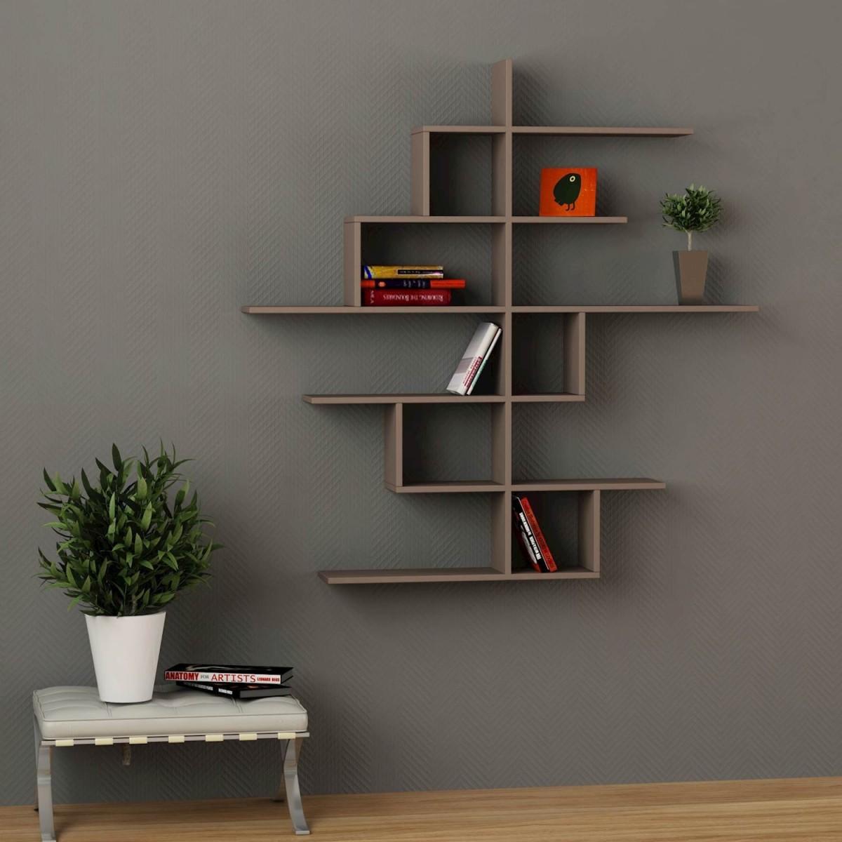 Durban libreria a muro design moderno in legno 150 x 150 cm for Libreria mensole