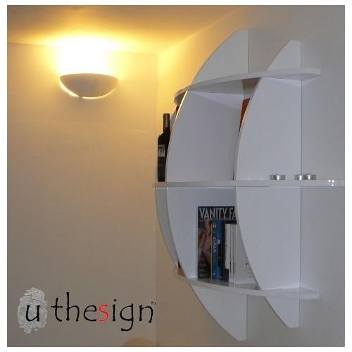 Libreria sferica in legno MDF Guidus 125 x 125 cm Bianca o Nera