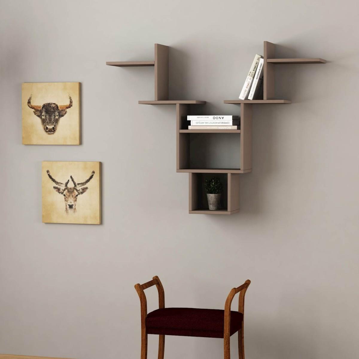 libreria mensola da parete in legno per soggiorno 85 x 98 cm